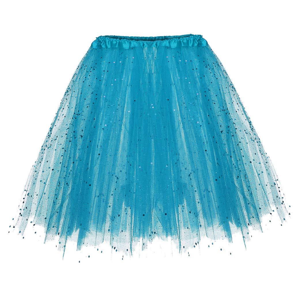 4Clovers Women's Fluffy Tulle Pleated Tutu Skirt Princess Ballet Dance Pettiskirt Tiered Puffy Squin Party Mini Skirt Sky Blue