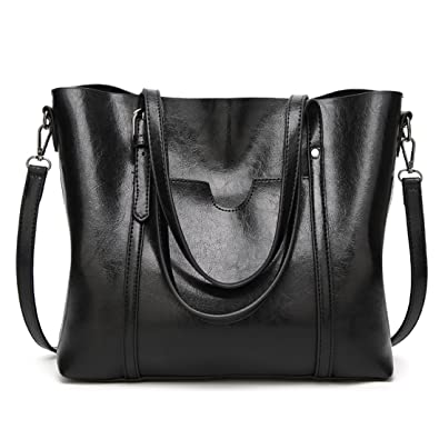 Women Bag Casual Vintage Shoulder Bag Leather Handbags Cross Body Bag Large  Capacity Tote Bag ( ee7673dc32e5f