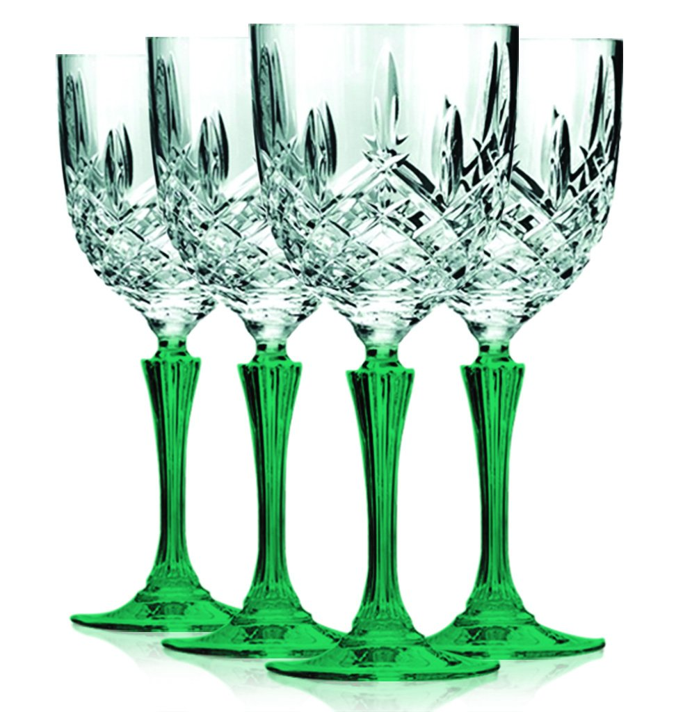 Christmas Tablescape Décor - Markham By Waterford HapWaterford Marquis-style clear crystalline bowl with emerald green stem wine glasses - Set of 4