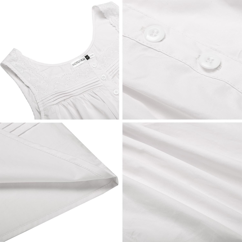 Balancora Damen Nachthemd Baumwolle Edel Nachtkleid wei/ß Victory Sleep Shirt Schlafanz/üge s/ü/ß Retro Nachtw/äsche Kurz /ärmellos