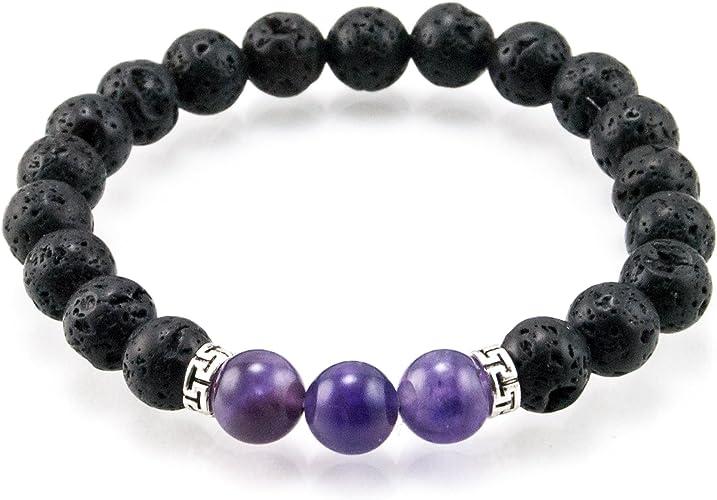Aromatherapy Diffuser Essential Oil Bracelet Natural Lava Rock Amethyst Hematite Gemstone Beads Purple Gray Handmade Jewelry Mala