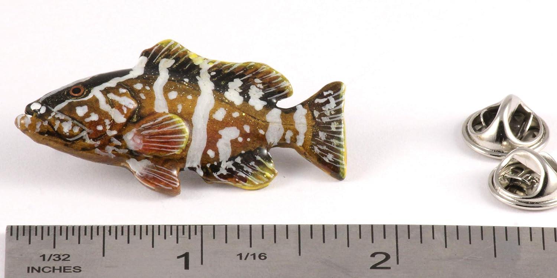 Black Seabass Fish Pewter S070 Lapel Pin Brooch Jewelry