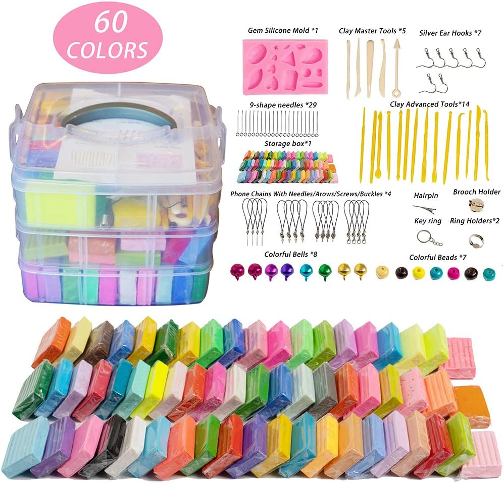 60 Colors Polymer Clay, 1oz/Block Soft Oven Bake Modeling Clay Kit with 19 Sculpting Clay Tools and Accessories, Starter Kit Clay for Kids, Non-Stick, Non-Toxic, Ideal DIY Gift for Kids