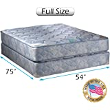 "Chiro Premier Orthopedic Medium Firm (Blue Color) Full Size (54""x75""x9"") Mattress and Box Spring Set - Fully Assembled, Superior Quality, Long Lasting and 2 Sided by Dream Solutions USA"