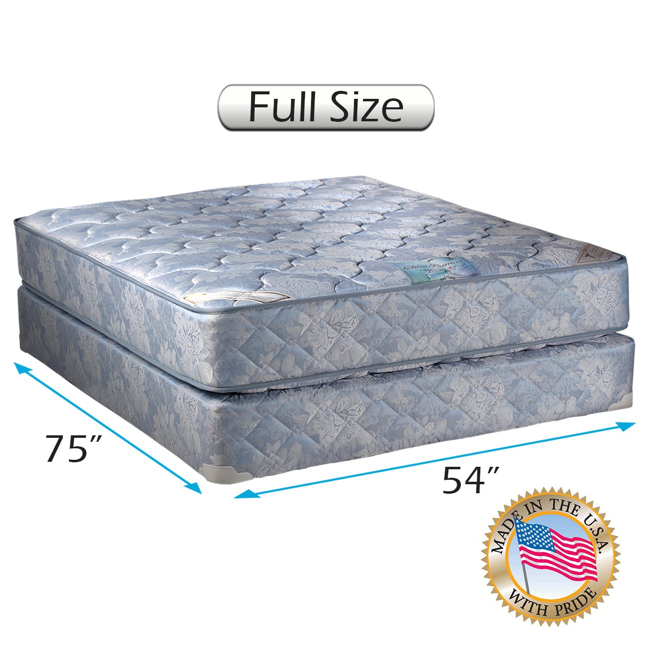 Chiro Premier Orthopedic Medium Firm (Blue Color) Full Size (54''x75''x9'') Mattress and Box Spring Set - Fully Assembled, Long Lasting and 2 Sided by Dream Solutions USA