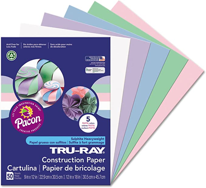 50 Sheets//Pack Pacon Tru-Ray Construction Paper 76 lbs 12 x 18 Assorted