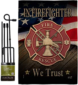 Firefighter We trust Burlap Garden Flag - Set with Stand Armed Forces Firefrighter Fireman Fire Department Rescue Red Line Hero Support - House Banner Small Yard Gift Double-Sided 13 X 18.5