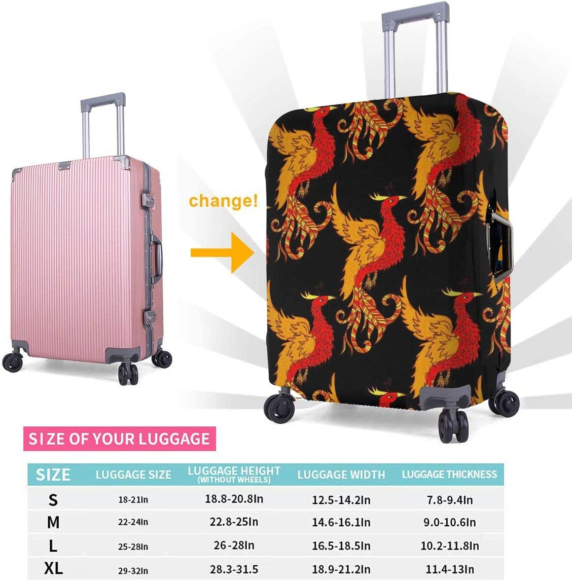 Chinese Red Phoenix XL Luggage Covers Travel Luggage Cover Spandex Travel Luggage Cover Suitcase Protector Fits 18-32 Inch Luggage Case