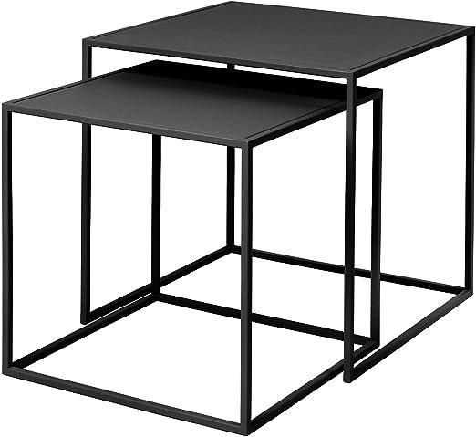 Blomus Fera - Juego de 2 mesas auxiliares (40 x 40 x 40 cm, 35 x ...