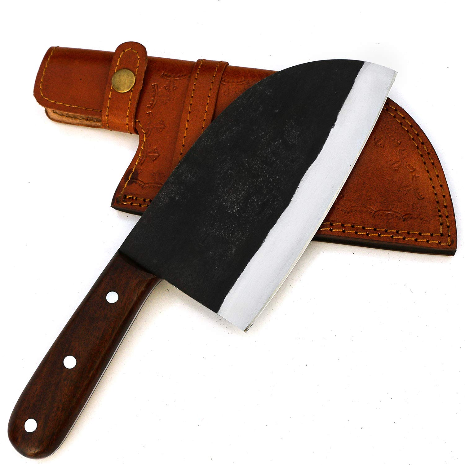 JNR TRADERS VK5510 Handmade 440c Steel Serbian Cleaver Chopper Kitchen Home Chef Professional Knife 11.5 Inches with Leather Sheath