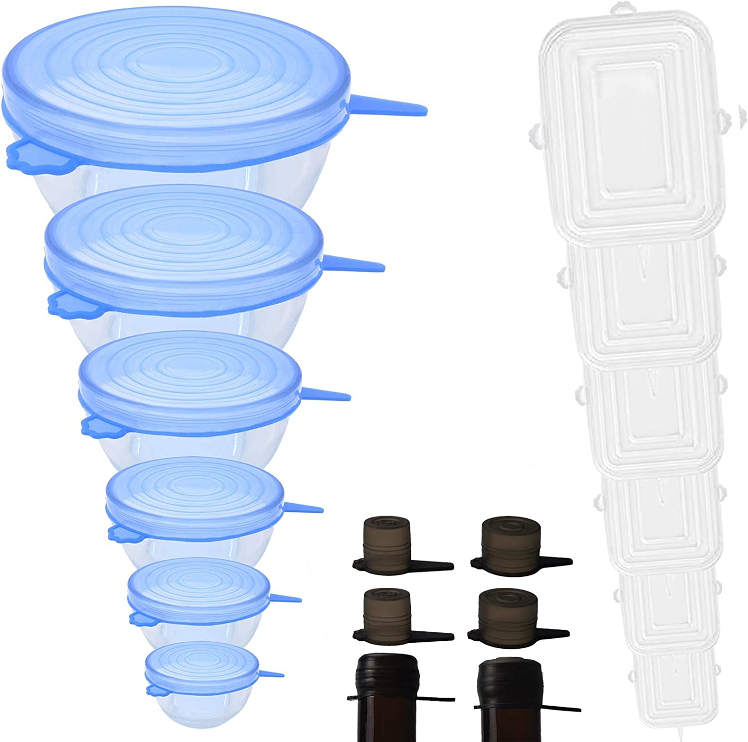 Silicone Stretch Lids 16 pcs Food Grade Silicone Reusable Lids for Bowl Container Fit for Different Sizes & Shapes Keep Fresh Replacement (white+blue)