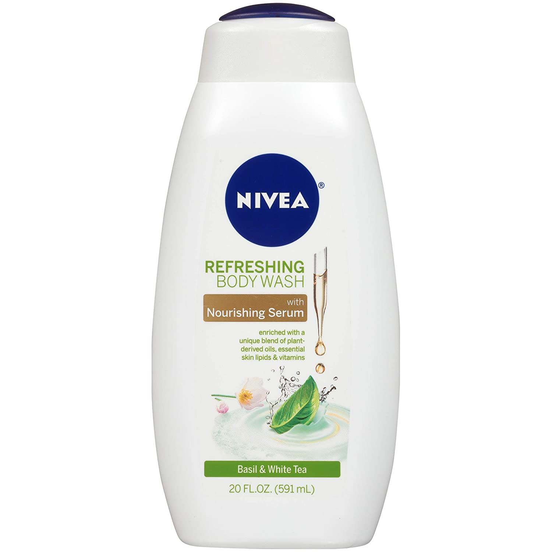 NIVEA Refreshing Basil and White Tea Body Wash - with Nourishing Serum - 20 fl. oz. Bottle