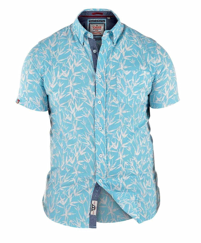 D555 By Duke Kingsize Large Mens Hawaiian Leaf Print Shirt, Short Sleeve, Blue (2XL-6XL)
