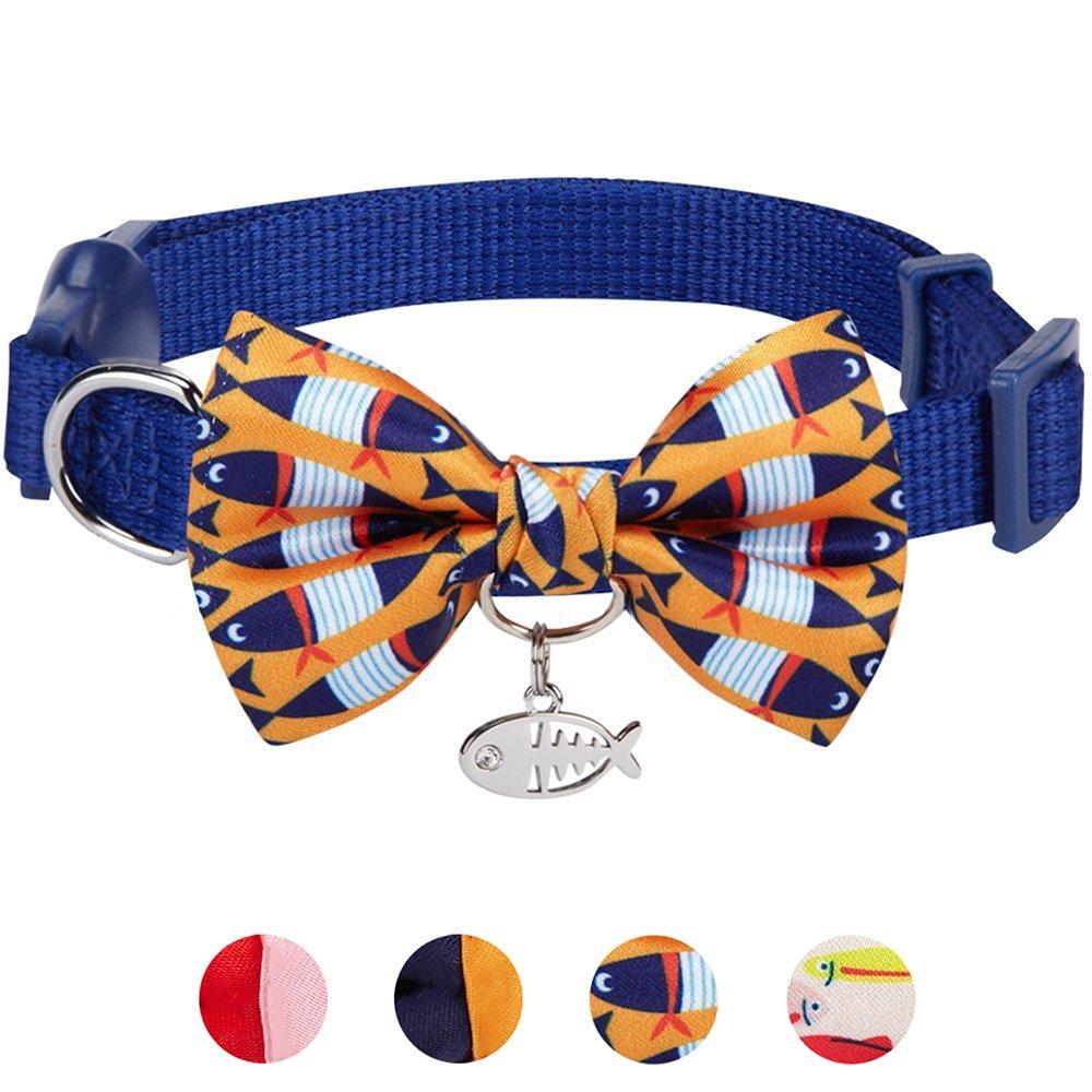 Blueberry Pet 18 Designs Timeless Navy Blue Breakaway Adjustable Chic Fish Print Handmade Bow Tie Cat Collar European Crystal Bead on Fish Charm, Neck 9''-13'', Bow 2.4'' 2''