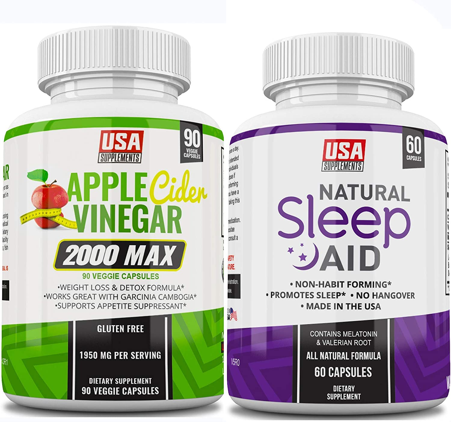 Apple Cider Vinegar Capsules & Natural Sleeping Pills for Adults Extra Strength | Herbal Melatonin, Chamomile & Valerian Root (ONE Bottle of Each)