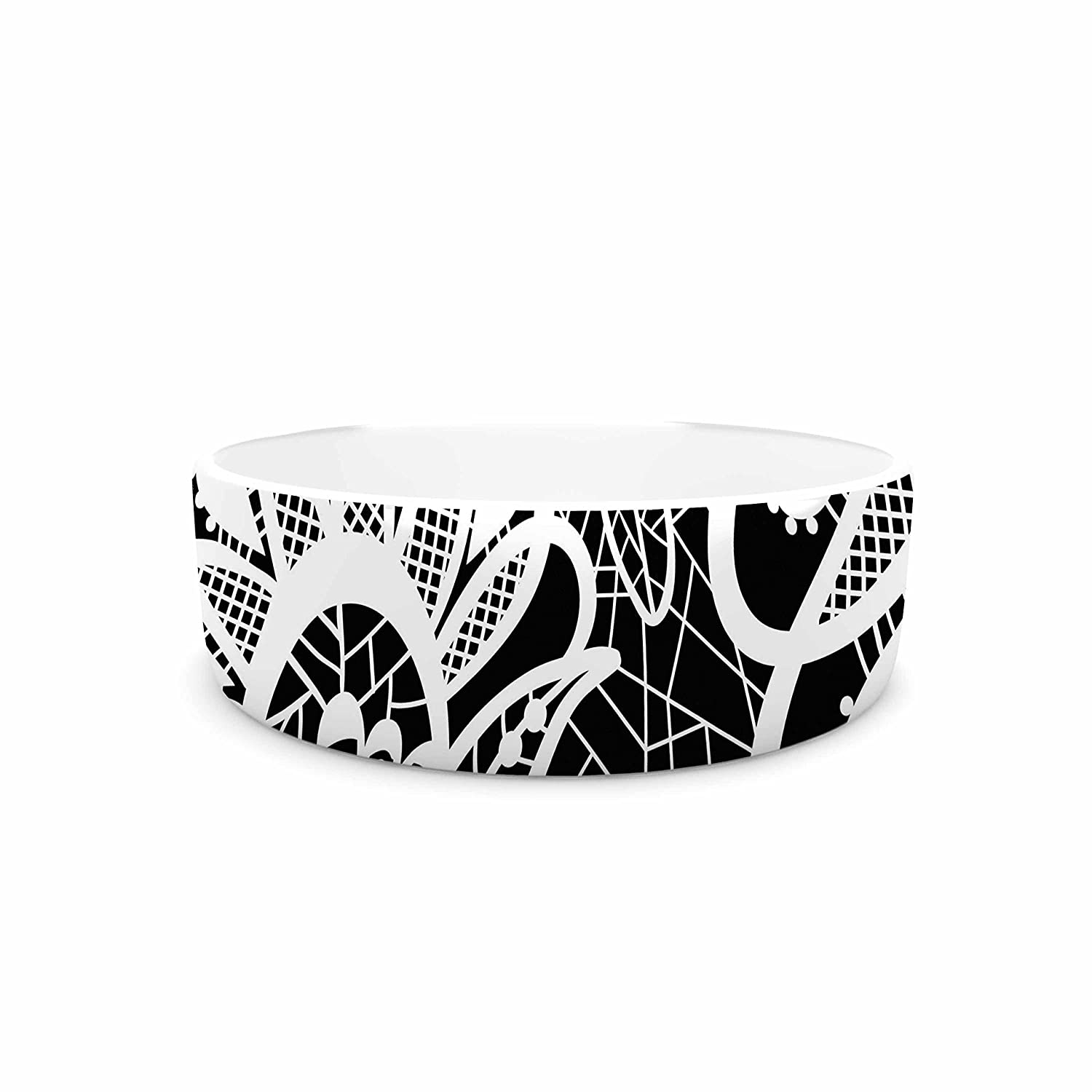 KESS InHouse Petit Griffin Floral Lace BW  Abstract Modern Pet Bowl, 7