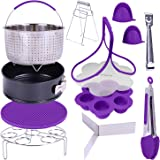 "GINEVE Pressure Cooker Accessories Set | Compatible with Instant Pot Accessories 6 qt, Instapot 8 Qt, Steamer Basket, 8"" Egg Bites Mold, Springform Pan, Egg Steamer Rack & Trivet, Bonus Cheat Sheets"