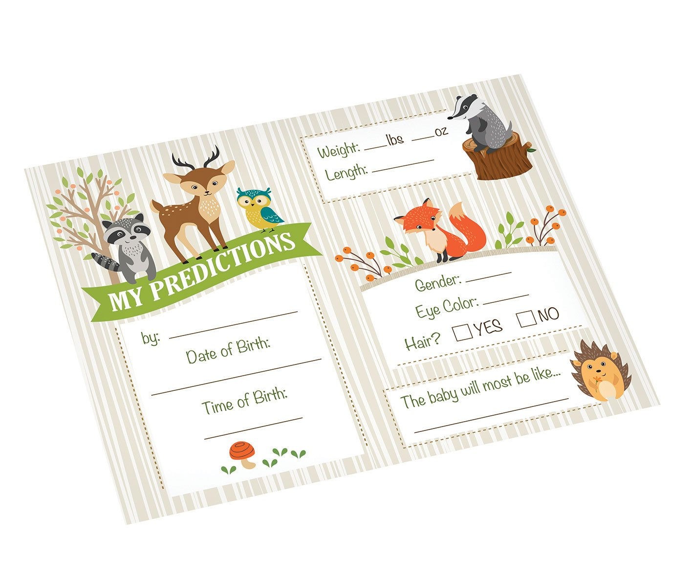 5.5x 4.25 Neutral Lillian Rose 24BS230 PC Woodland Baby Shower Prediction Cards
