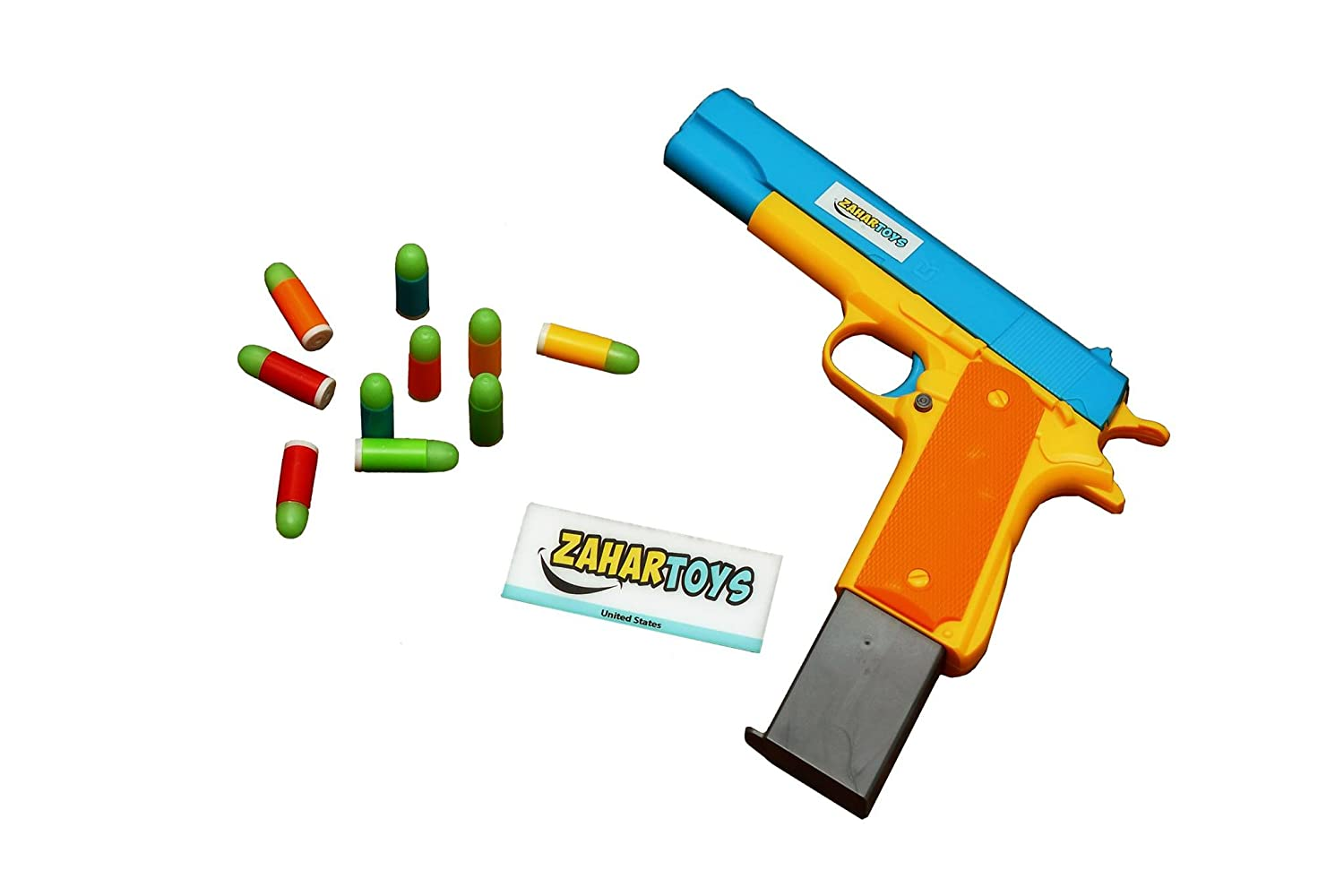 Amazon.com: Colt 1911 Toy Gun Realistic with Soft Bullets, Ejecting  Magazine, and Pull Back Action, M1911 A1 Colt 45 with 10 Fluorescent  Bullets And Bonus ...