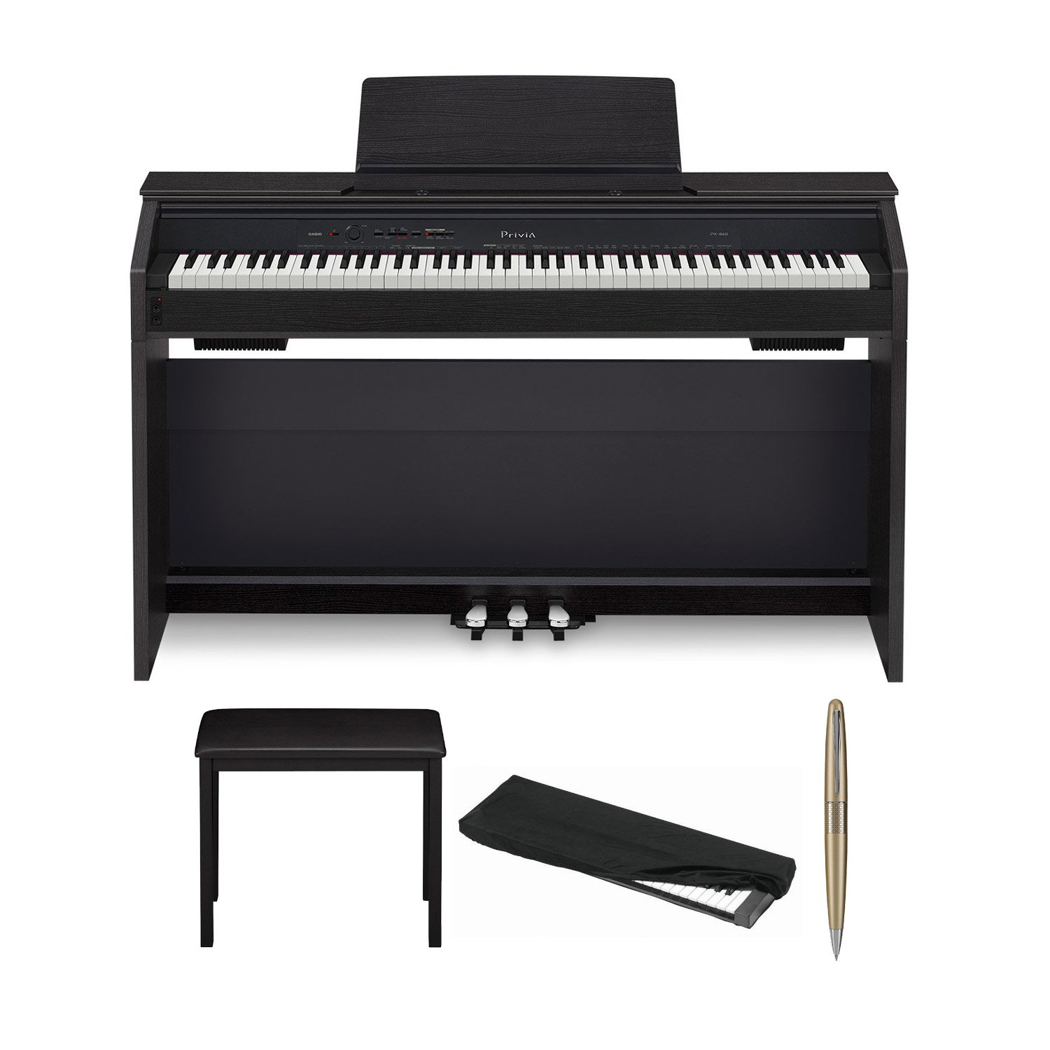 Casio PX860 Black 88-Key Digital Piano with Adjustable storage bench, ER Music Key Cover, and ER Pen