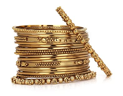 94eb652a7e6fe JDX Metal Gold Plated Bangles Set for Women  Amazon.in  Jewellery
