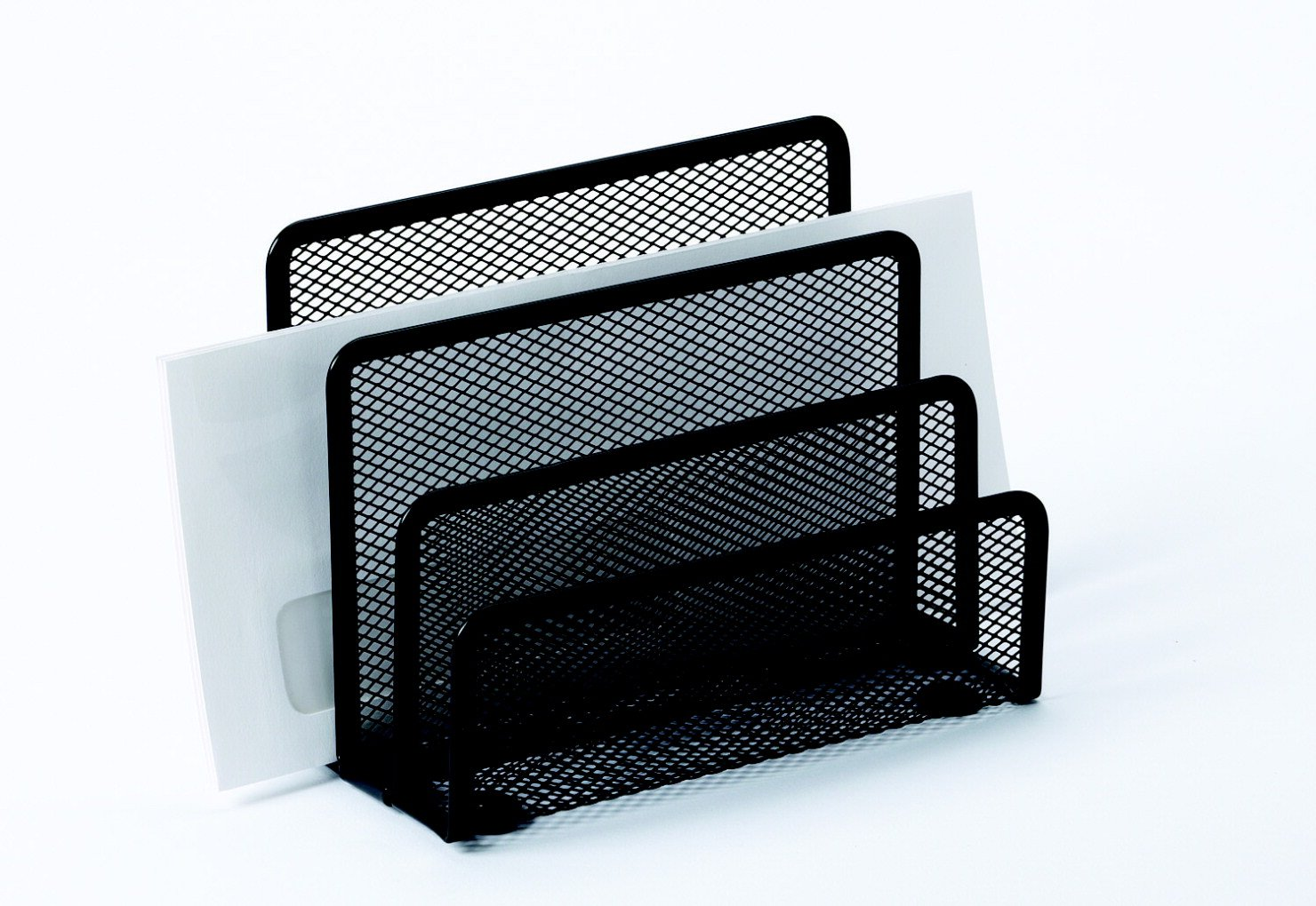 School Smart 1443300 Mesh Letter Holder, 5-3/10'' x 3-1/5'' x 7'', Steel, Black