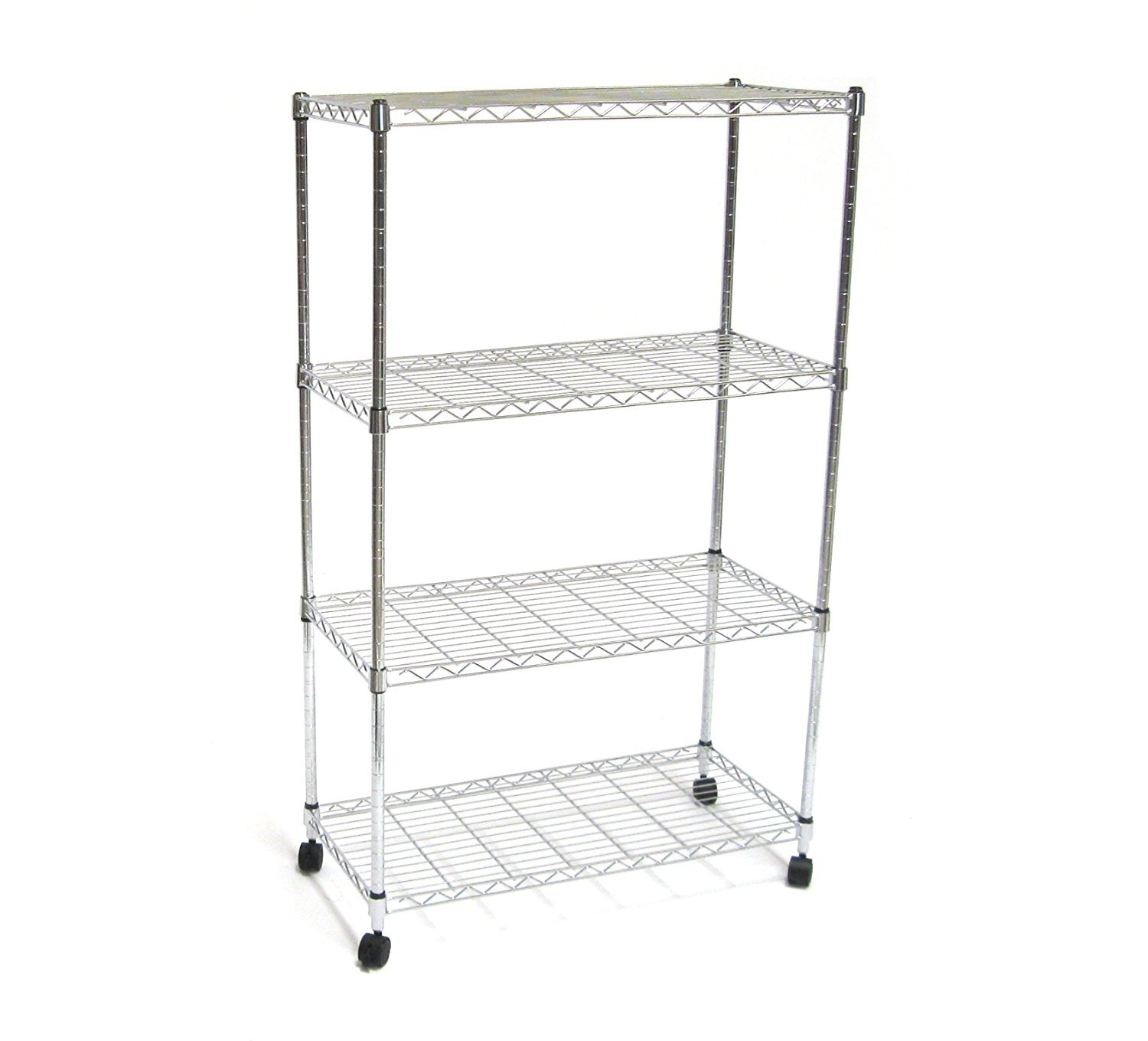 "Seville Classics SHE14304ZB 4-Tier Steel Wire Shelving with Wheels, 30"" W x 14"" D x 48"" H Chrome"