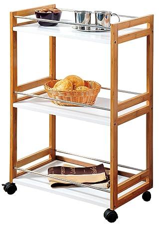 Kesper 25796 - Carrito camarera (madera de bambú, 51 x 30 x 81 cm): Amazon.es: Hogar
