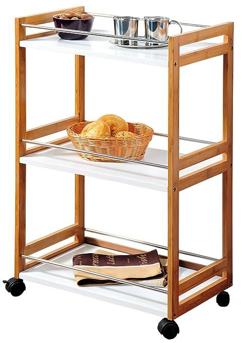 Kesper 25796 - Carrito camarera (madera de bambú, 51 x 30 x 81 cm