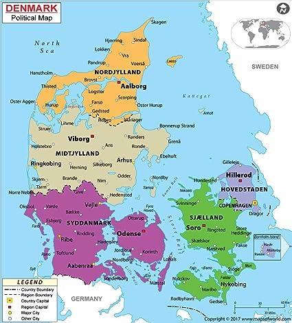 World Map Of Denmark.Amazon Com Denmark Political Map Laminated 36 W X 39 89 H