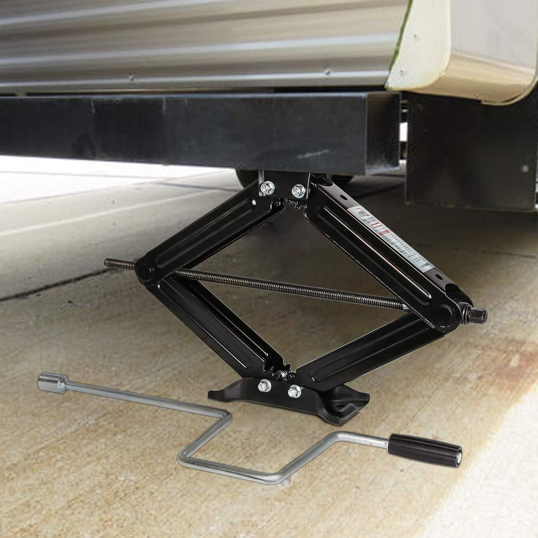 WEIZE Set of 4 5000lbs RV Trailer Camper Stabilizer Leveling Scissor Jacks with Handle
