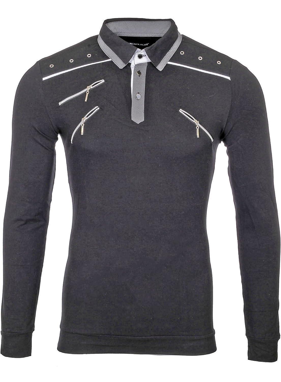 Reslad Herren Poloshirt Langarmshirt Herren Zipper Style Longsleeve Langarm T-Shirt Langarmpolo für Männer RS-5028L