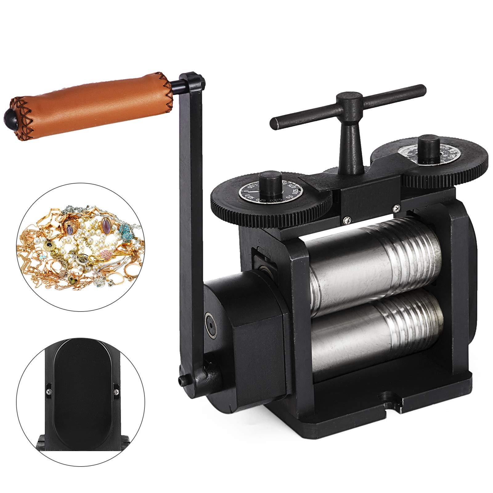 Mophorn Jewelry Rolling Mill Combination Rolling Mill 130mm Wide 65mm Diameter Rollers Manual Rolling Mill Machine Jewelry Marking Tools for Jewelers and Crafts-People