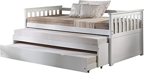 Major-Q 80″ x 43″ x 32″H Mission Style White Finish Daybed Pull-Out Bed and Twin Size Trundle,