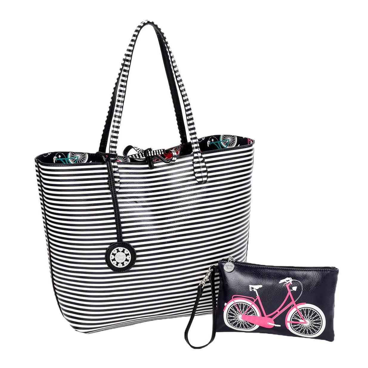 Sydney Love Easy Rider Reversible Tote & Wristlet Set, Bicycle / Stripes