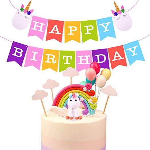 TUPARKA Rainbow Unicorn Cake Toppers Kit Decoraciones de ...