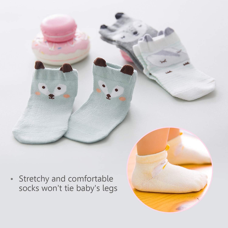 DORRISO Cute 5 Pairs of Baby Socks Toddler Girls Boys Socks Cotton Socks suit for Newborn Baby kids Anti-skid Socks Cotton