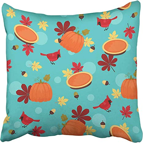 Gettoget Orange Acorn Traditional Thanksgiving Pumpkin Red Cardinal And Autumn Leaves American Beautiful Berry Bird Pillow Cases Personalized Throw Pillow Cover For Sofa Home Room Bed 24x24 In Amazon Ca Home Kitchen