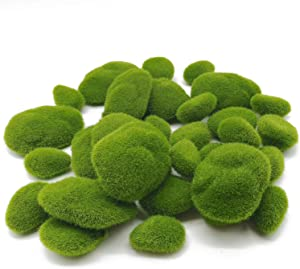 TIHOOD 30 PCS 3 Size Artificial Moss Rocks Decorative, Green Moss Balls,Moss Stones, Green Moss Covered Stones, Fake Moss Decor for Floral Arrangements, Fairy Gardens and Crafting
