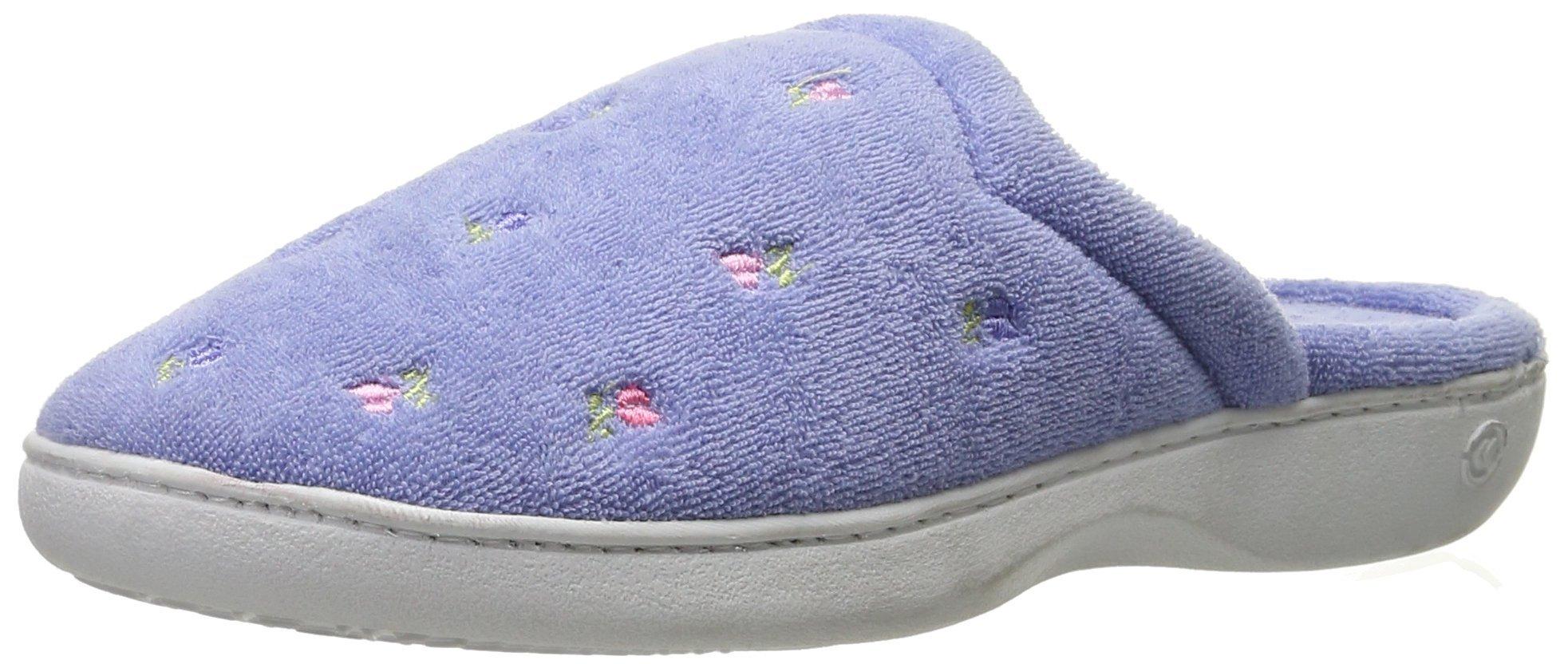 ISOTONER Women's Terry Slip On Clog Slipper with Memory Foam for Indoor/Outdoor Comfort,Periwinkle,Medium/7.5-8 M US