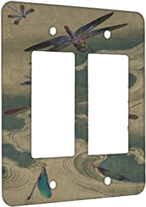 Elements of Space Dragonflies on Blue Waves Metal Wall Plate - 2 Gang Decora/GFCI