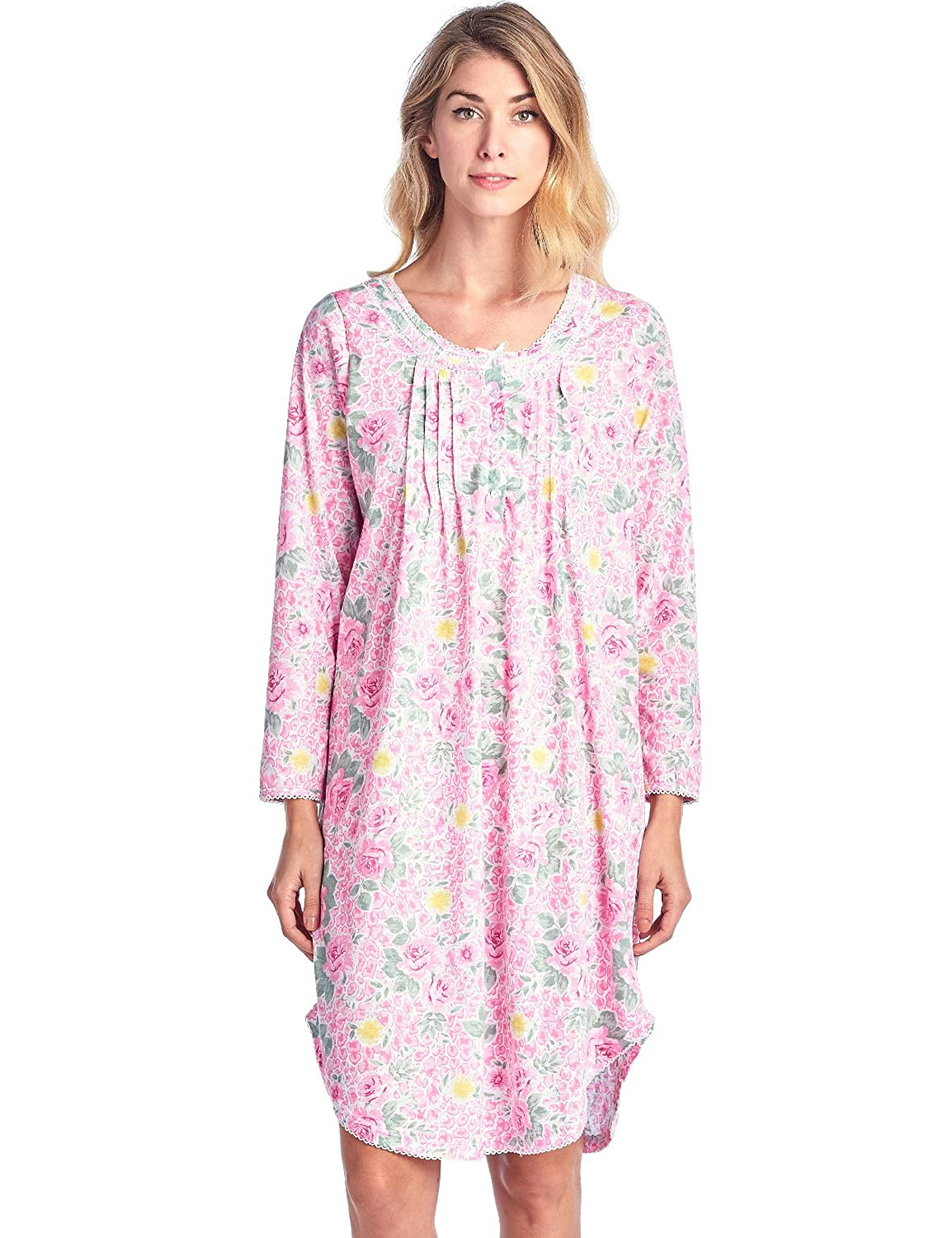 Casual Nights Women's Round Neck Long Sleeve Lace Floral Nightgown Long Sleeve Floral Nightshirt