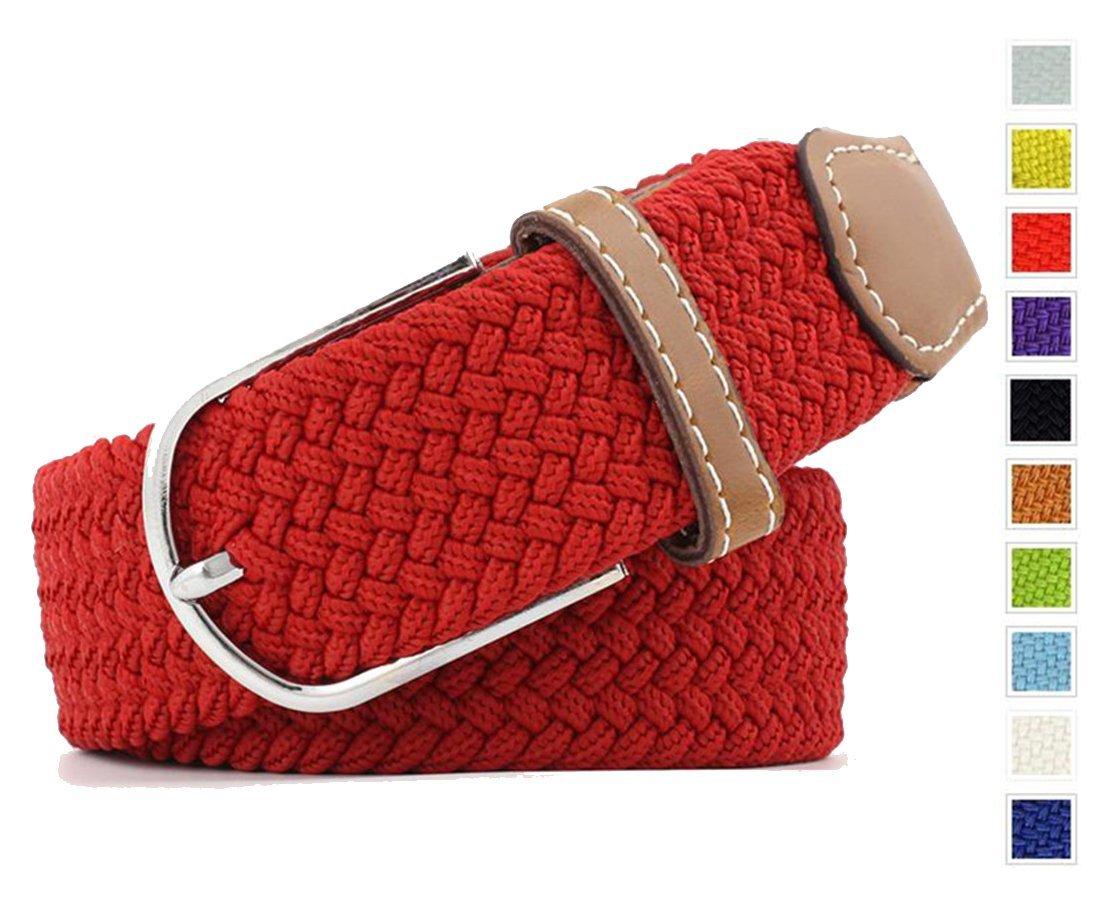 "XDeer Braided Stretch Elastic Belt, Fabric Woven Belts for Men and Women (Waist:42"", White)"
