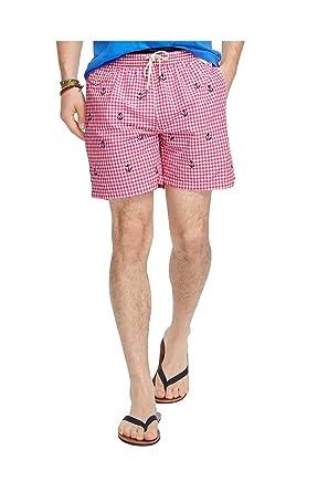 Polo Ralph Lauren Mens Traveler Gingham Anchors Swim Trunks Pink M