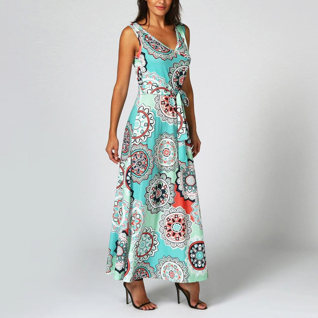878134fe423 Taore Long Maxi Dress Plus Size Hippie Boho Floral Tank Casual Summer  Floral Party Dress Beach at Amazon Women s Clothing store