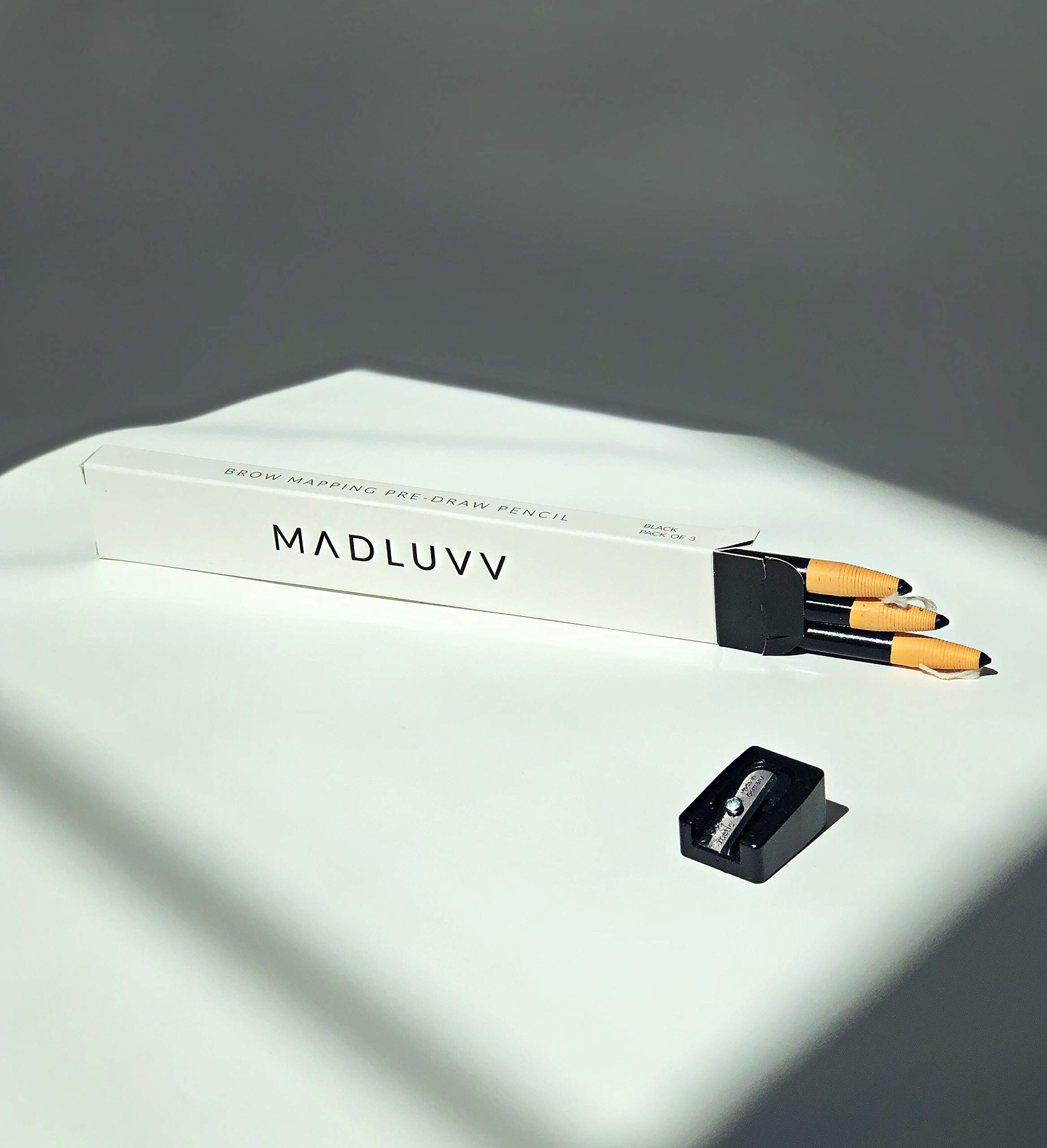 Best Microblading Pre Draw Pencils, Black with Sharpener (3 Pack) by MADLUVV (Image #2)