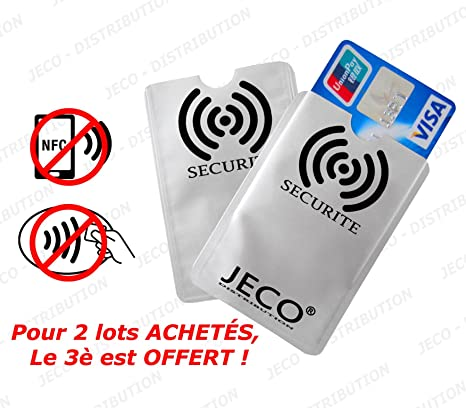 nouveau sélection en soldes styles frais Lot de 2 - Protège Carte ANTI-RFID/PAIEMENT SANS CONTACT carte bleue visa  mas...