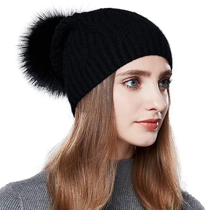 b01fbb1ca3a Image Unavailable. Image not available for. Color  ENJOYFUR Winter Hats for Women  pom pom Slouchy Beanie hat Real Fur Knit ...