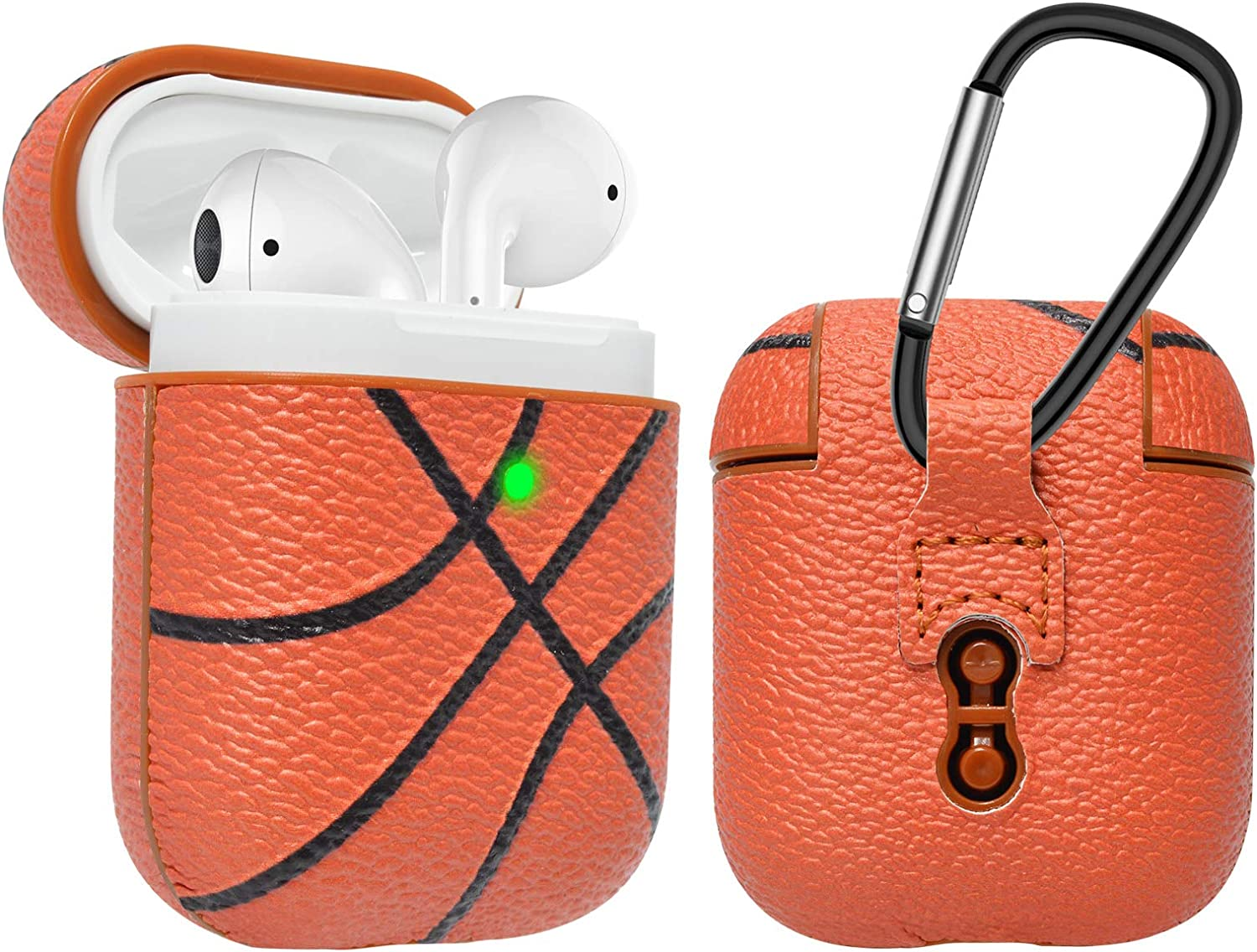 Njjex AirPods Case, AirPods PU Leather Hard Case, Portable Protective Shockproof Earphone Accessories Cover w/Carabiner/Keychain Compatible for Apple AirPods 1/ Airpods 2 Charging Case [Basketball]