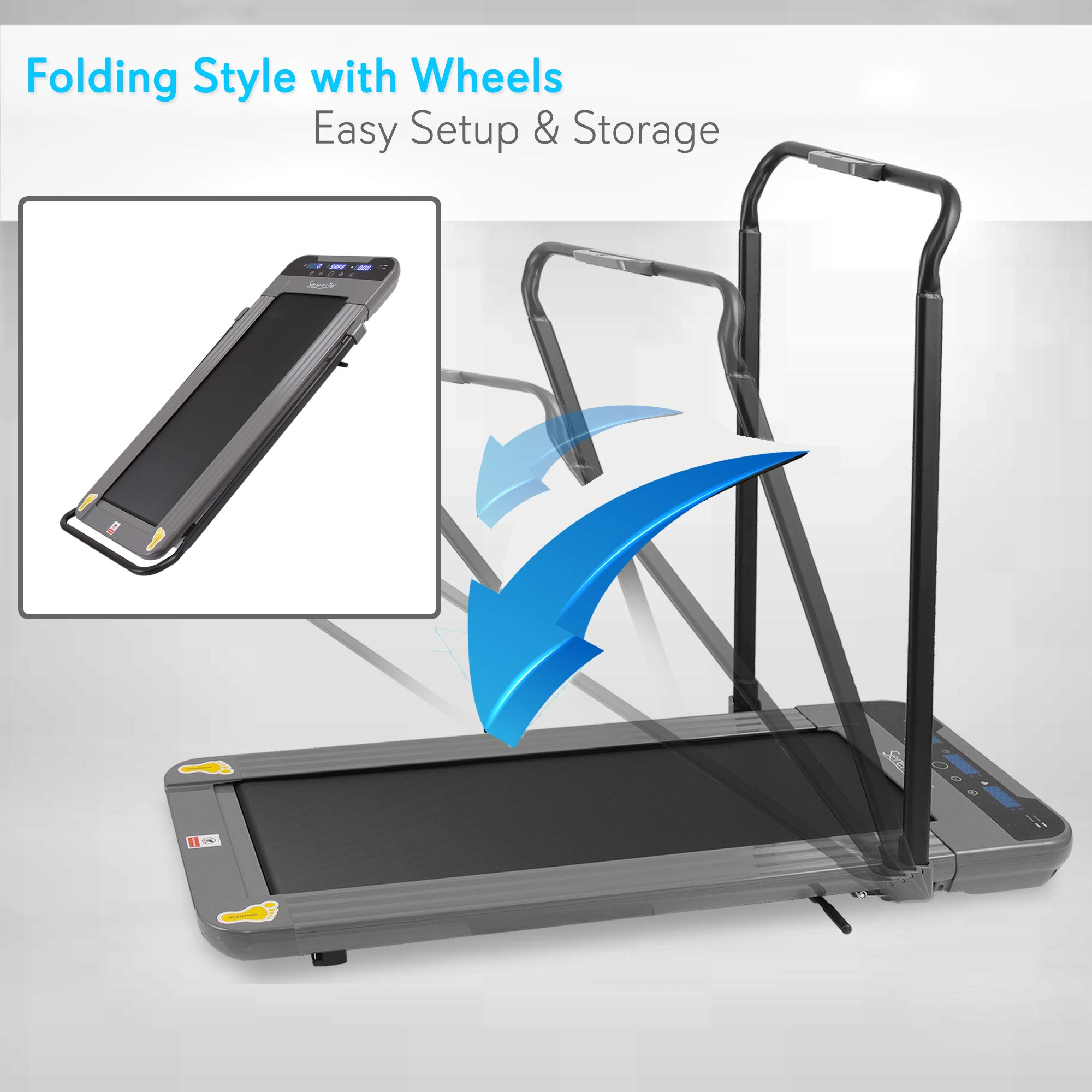 "SereneLife 350W Low Speed Fitness Treadmill - Smart Digital Slim Folding Electric Indoor Home Gym Foldable Fitness Exercise Running Machine - 40.0"" x 14.3"" Belt, Safety Key, Remote Control SLFTRD50 by SereneLife (Image #5)"